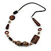 Geometric Wood, Ceramic Bead with Silver Wire Element Black Faux Leather Cord Necklace (Black/ Brown) - 78cm L