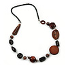 Brown/ Black Wood Bead with Silver Wire Detail Black Faux Leather Cord Necklace - 80cm L