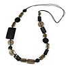 Black/ Taupe Sea Shell Geometric Cotton Cord Long Necklace - 88cm L