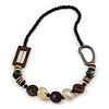 Trendy Wood, Acrylic Bead Geometric Chunky Necklace (Black/ Natural/ Brown) - 70cm L