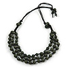 Layered Dark Green 'Scratched Effect' Resin Bead Black Cotton Cord Necklace - 74cm L