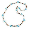Long Light Blue Acrylic, Brown Wood, Silver Tone Metal Bead with Orange Cord Necklace - 104cm L