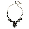 Romantic Glass and Ceramic Bead Heart Pendant Charm Necklace In Silver Tone (Black) - 64cm L