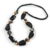 Statement Resin, Wood, Metal Bead Cotton Cord Necklace (Black, Natural, Aged Silver) - 64cm L