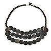 Layered Grey Resin Bead Brown Cord Necklace - 46cm L