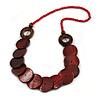 Dark Red/ Brown Wood Button Bead Necklace - 70cm L