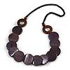 Purple/ Brown/ Black Wood Button Bead Necklace - 80cm L