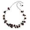 Brown Ceramic Bead Charm with Silver Tone Chain Necklace - 74cm L/ 4cm Ext