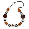 Brown/ Amber Ceramic Bead and Black Wood Ring Cotton Cord Necklace - 70cm L