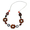 Long Floral Wood and Shell Bead Silver Tone Acrylic Cord Necklace (Brown/ Grey/ Red) - 80cm L