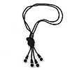 2 Strand Black Glass Bead Long Lariat Necklace - 118cm L