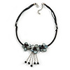 Black/ Dark Grey Shell Flower Metal Wire with Cotton Cord Necklace - 44cm L/ 5cm Ext