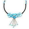 Light Blue Shell Flower Metal Wire with Black/ Light Blue Cotton Cord Necklace - 44cm L/ 5cm Ext