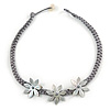 Mother Of Pearl Floral Black Grey Silk Cord Necklace - 48cm L