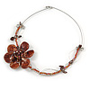 Romantic Brown Shell, Glass Bead Side Floral Motif Wire Choker Necklace In Silver Tone - 44cm L