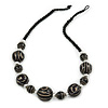 Statement Black Wood Bead Necklace with Silver Tone Wire Detailing - 58cm Long
