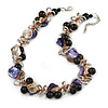 Exquisite Black Ceramic Bead & Purple/ Natural Shell Composite Silver Tone Link Necklace - 43cm L/ 5cm Ext