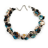 Exquisite Black Ceramic Bead & Teal/ Natural Shell Composite Silver Tone Link Necklace - 36cm L/ 7cm Ext