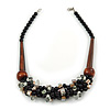 Chunky Cluster Black Ceramic Beads, Natural Shell Nuggets Wood Bar Necklace - 48cm Long