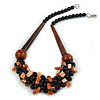 Chunky Cluster Black Ceramic Beads, Orange Shell Nuggets Wood Bar Necklace - 48cm Long
