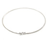 Delicate Clear Austrian Crystals Slim Flex Choker Necklace In Rhodium Plating
