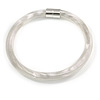 Chunky Light Silver Spring Type Ribbed Magnetic Necklace - 45cm L