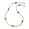 Delicate Glass Beads and Sea Shell, Metal Bar Necklace In Silver Tone (Black/ White) - 50cm L/ 6cm Ext
