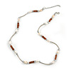 Delicate Glass Beads and Sea Shell, Metal Bar Necklace In Silver Tone (Brown/ White) - 50cm L/ 6cm Ext