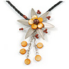 Romantic Beaded Flower Pendant with Black Faux Leather Cord In Silver Tone (Brown, Honey) - 44cm L