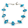 Stylish Blue Bone Bead and Textured Metal Bar Necklace In Silver Tone - 44cm L/ 4cm Ext
