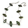Stylish Green Bone Bead and Textured Metal Bar Necklace In Silver Tone - 43cm L/ 5cm Ext