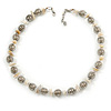 Stylish Metal Ball with Wire and Antique White Sea Shell Nugget Necklace In Silver Tone - 44cm L/ 4cm Ext