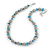 Stylish Metal Ball with Wire and Teal Sea Shell Nugget Necklace In Silver Tone - 44cm L/ 4cm Ext