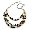Layered Glass Bead Statement Necklace (Brown/ Black/ White/ Silver) - 62cm L