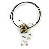 Green Shell Flower with Multi Faux Pearl Bead Flex Wire Choker Necklace - Adjustable