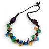 Multicoloured Wood and Acrylic Bead Cotton Cord Necklace - 66cm L