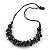 Button Shape Wood Bead with Black Cotton Cord Necklace (Black, Gold, White) - 60cm L
