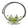 Green/ White Sea Shell Butterfly Pendant with Flex Wire Choker Necklace - Adjustable