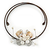Off White Sea Shell Butterfly Pendant with Flex Wire Choker Necklace - Adjustable