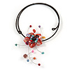 Red Shell Flower with Multi Faux Pearl Bead Flex Wire Choker Necklace - Adjustable