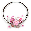Pink Sea Shell Butterfly Pendant with Flex Wire Choker Necklace - Adjustable