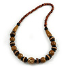 Stylish Wood Bead Necklace In Brown - 62cm L