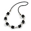 Black Ceramic Cluster Bead with Silver Link Faux Leather Cord Necklace - 76cm L