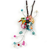 Multicoloured Shell Flower Pendant with Waxed Cotton Cord Necklace - 60cm L/ 9cm Front Drop