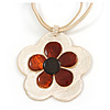 Romantic Shell Flower Pendant with Cream Faux Suede Cords (White, Brown, Black) - 40cm L