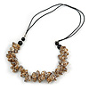 Stylish Cluster Shell Bead with Black Cotton Cord Necklace (Brown) - 66cm Long