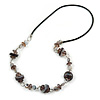 Stylish Shell and Glass Bead Black Rubber Cord Necklace (Grey) - 70cm L