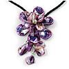 Purple Shell Flower Pendant with Black Faux Leather Cord Necklace - 44cm/ 4cm Ext/ 12cm Front Drop