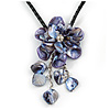 Violet Blue Shell Flower Pendant with Black Faux Leather Cord Necklace - 44cm/ 4cm Ext/ 12cm Front Drop