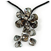 Dark Grey Shell Flower Pendant with Black Faux Leather Cord Necklace - 44cm/ 4cm Ext/ 12cm Front Drop